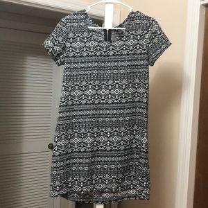 Black and White Summer Tribal Shift Dress